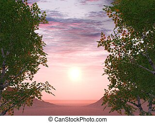 Sunset on a background of foliage of trees and two ????? in...