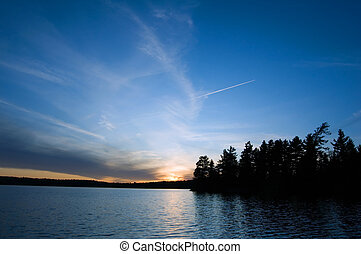 Sunset on McIntosh Lake in Algonquin Park