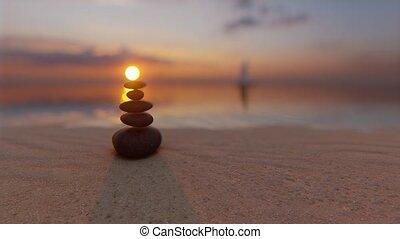 Sunset stones balance sea Zen garden Spiritual mind 4k