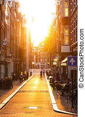 Sunset street - Summer sunset in the nine little streets in...