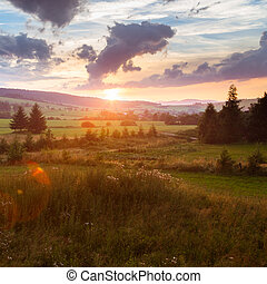 Sunset summer landscape with clouds, trees and hill