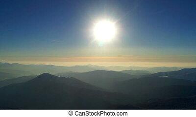 Sunset sun mountain sky winter