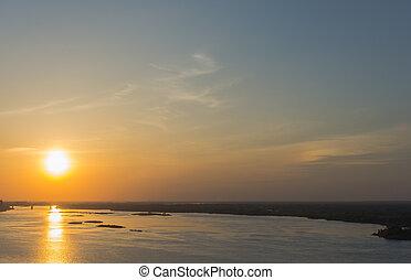 Sunset sun on the Volga