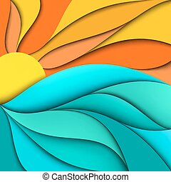 sunset., sunrise., 海, 波浪, 背景