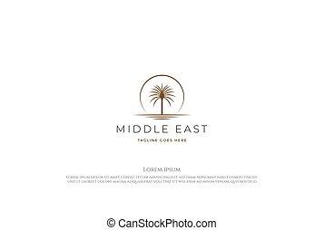 Sunset Sunrise Arabian Middle East Palm Date Tree with Desert Logo Design Vector