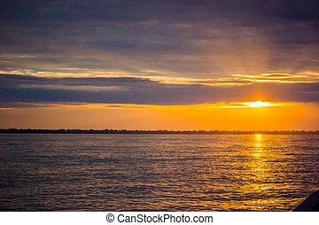 Sunset sunrise at Amazon River Jungle