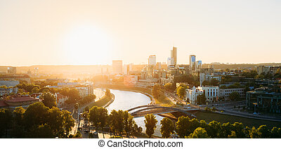 Sunset Sunrise Cityscape Of Vilnius, Lithuania In Summer. Beautiful Panoramic View In Evening