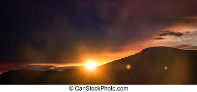 Sunset, sunrise over mountains. Sun and colorful sky background, banner.