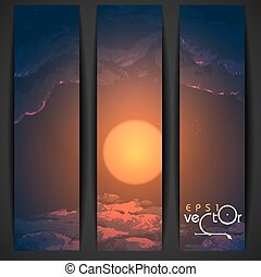 Sunset, Sunrise With Clouds. Painting Picture. Vector Illustration Eps 10