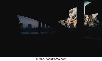 Sunset. Sunset sun in the city of Seoul. South Korea