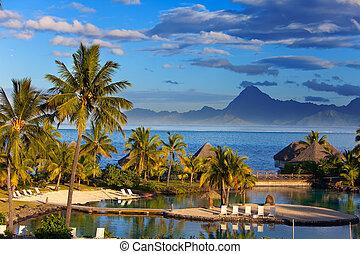sunset., tahiti., océano, polynesia.