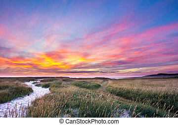 Colorful sunset at Nature Park Slufter at Wadden island Texel in the Netherland