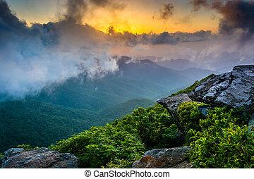 Sunset through fog, seen from Craggy Pinnacle, near the Blue Rid
