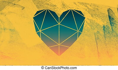 Animation of an orange and blue sunset sky seen through a yellow heart shaped window in the foreground
