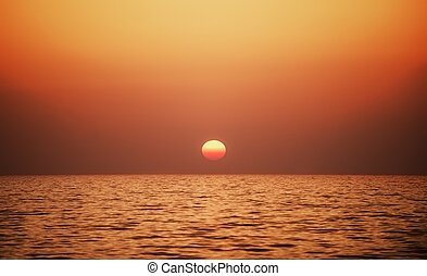 Sunset time at a sea