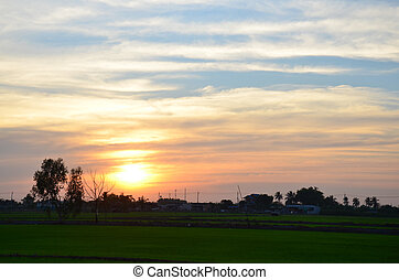 Sunset time at countryside