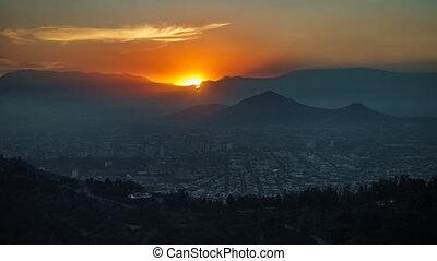 Sunset time lapse at Santiago de Chile - Top view sunset...
