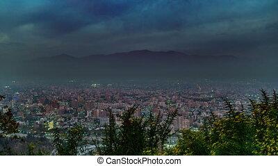 Sunset time lapse at Santiago de Chile with mist