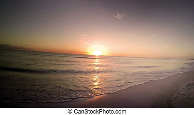 Time lapse beach with light leak - Sunset Time lapse beach...