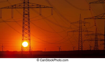 Sunset time lapse electric poles