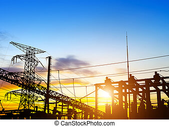 Sunset time substation - distribution electric substation...