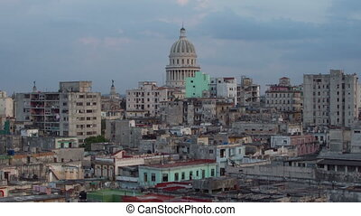sunset timelapse as day turns to night, of the havana...