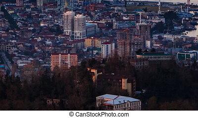 Sunset timelapse Batumi cityscape pan up - HD Sunset...