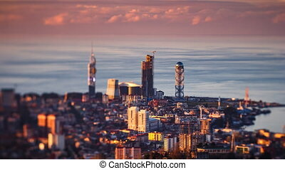 Sunset timelapse Batumi cityscape static
