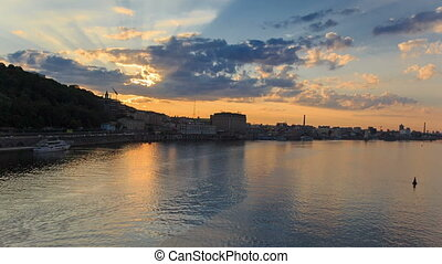 Sunset timelapse in Kyiv