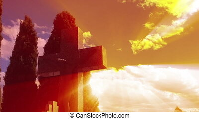Sunset timelapse, Stone cross with
