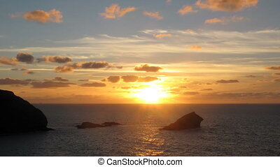 Sunset timelpase Portreath Cornwal - Sunset timelpase Gull...