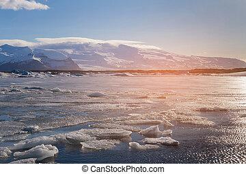 Sunset tone over Jakulsarlon winter season