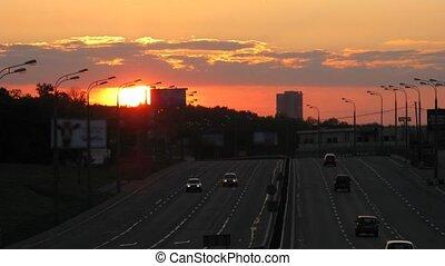 sunset traffic time lapse 3