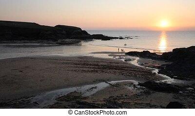 Sunset Treyarnon Bay Cornwall PAN - Sunset Treyarnon Bay...