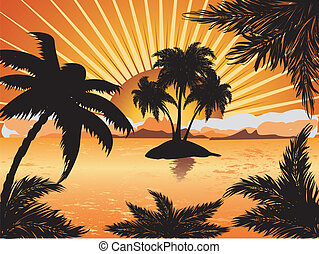 Sunset tropical island - Palm trees silhouette on sunset ...