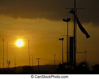 Sunset Urban Scene Guayaquil Ecuador