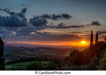 Sunset Val d'Orcia Tuscany