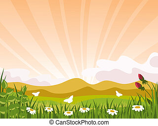 Sunset. Vector illustration.