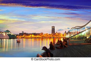 sunset., vell, 堤防, バルセロナ, 港