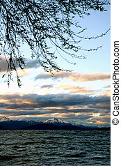 Sunset view at Bariloche - View to Nahuel Huapi lake at...