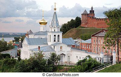 Sunset view Church of Elijah the Prophet and Kremlin Nizhny Novgorod Russia