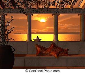 View of a golden sunset through the pillars of a Roman Villa Terrace, 3d digitally rendered illustration