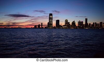 Sunset view from Manhattan, New York City - Hudson river and Jersey City skyline (New Jersey)