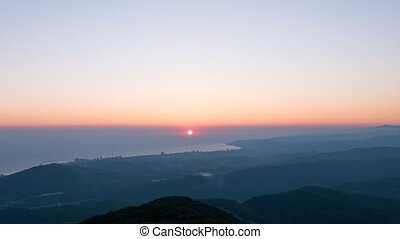 Sunset View from Mount Akhun. Sochi, Russia