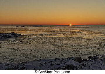 Sunset view from Ockero in winter