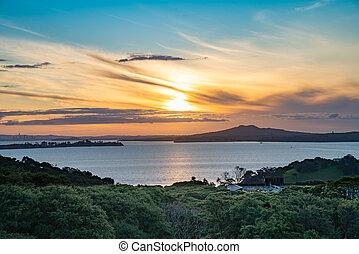 Sunset view from Waiheke Island to Rangitoto Island