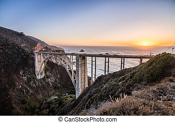Sunset view of Bixby Creek Bridge on Highway 1, Big Sur, California