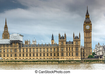 Sunset view of Houses of Parliament, Westminster palace, London, England