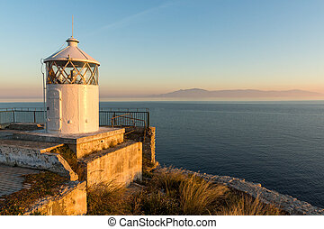 Sunset view of Lighthouse in Kavala, East Macedonia and Thrace