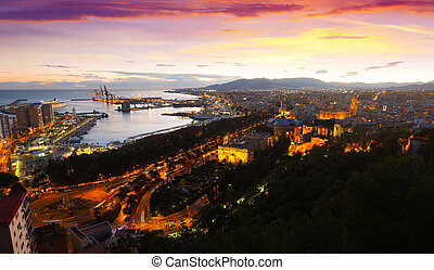 Sunset view of Malaga with Port